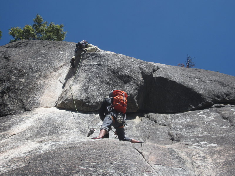Rock Climbing Photo: Mike and Tristan from Wyoming at the crux. May 201...