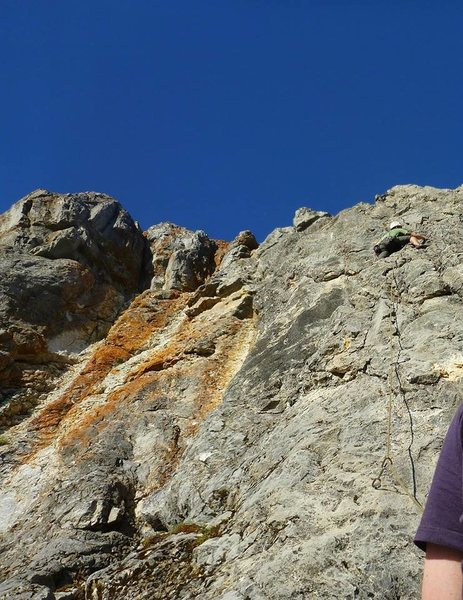 Rock Climbing Photo: Ben nearing the top of the climb. Onsighted his fi...