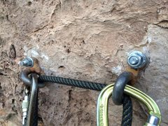 Rock Climbing Photo: The anchors look a little bit suspect.  Time for r...