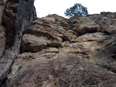 Rock Climbing Photo: Photo of the route with rope and quickdraws (note:...