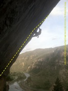 Rock Climbing Photo: Myself dogging slowly up Fault Line. Skillfully bo...