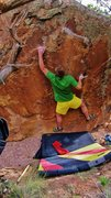 Rock Climbing Photo: Sticking the left hand three-finger edge, then fol...