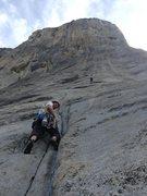 Rock Climbing Photo: Matt Ciancio, approaching the 11 slabs of 'Freebla...