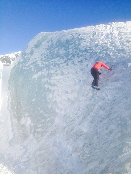 Free solo ice climb.
