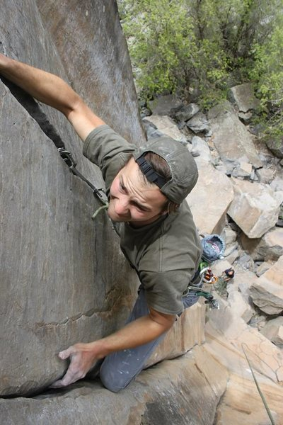 Rock Climbing Photo: pulling through the crux. photo by Ryan Zmierski