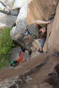 Rock Climbing Photo: towards the top of the route. photo by Lindsey Wes...