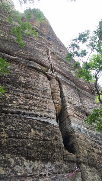 Rock Climbing Photo: Fun first pitch of Ashtar Command on Ataxia Tower,...