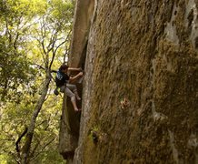 Rock Climbing Photo: Laying back on the lower part of ozone
