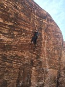 Rock Climbing Photo: Nick leading No Dogs Allowed, 05-17-2014. He's che...