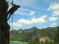 Rock Climbing Photo: Nice long rappel.