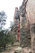 Rock Climbing Photo: Route diagram:  Detachable Pillar Arete.