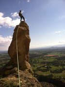 Rock Climbing Photo: catching a ride with the thumb, Smith Rock Oregon.