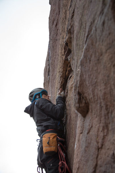 Steve Baskis on the first pitch of The Bastille Crack.  Steve is completely blind, and this was his first ever multi-pitch climb.