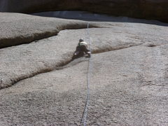 Rock Climbing Photo: Leaving the crack on the upper section.