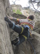 Rock Climbing Photo: Crux right below the anchor. Go direct or reach ou...