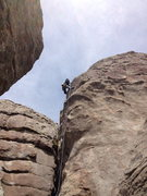 Rock Climbing Photo: Just past the last bolt.