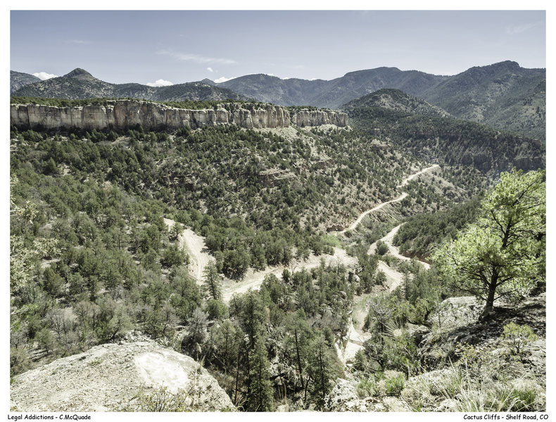 Rock Climbing Photo: South End of Cactus Cliff and Spiney Ridge as seen...
