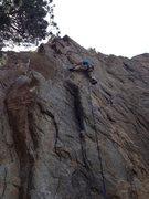 Rock Climbing Photo: Gino at the crux.