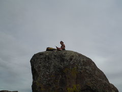 Rock Climbing Photo: Mitzi replacing the tattered mank with fresh new h...