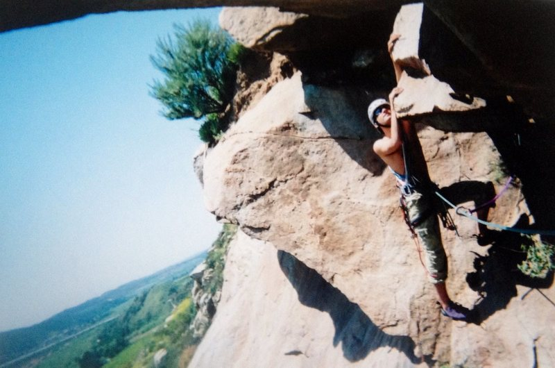 Steve Stone on an early ascent of The Iron Cross Traverse!!