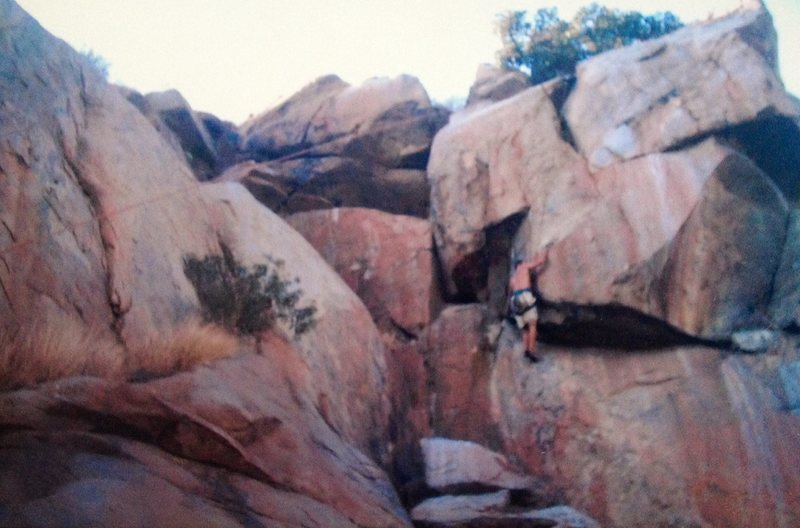 Rock Climbing Photo: Cookie Monster Corner, with Jonathan staring up Be...