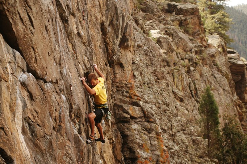 Rock Climbing Photo: Greg mastering the small crimps of Soap on a Rope....