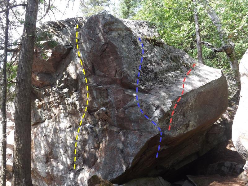 Rock Climbing Photo: Westward Ho! V0 (yellow) Malaria Direct V5 (blue) ...