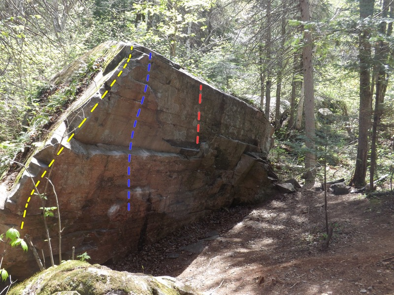 The Gateway Boulder<br> Gateway Arete V0 (yellow)<br> The Gate V2 (blue)<br> Put All Your Fears... V4 (red)