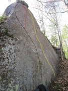Rock Climbing Photo: Black line is Free Therapy. Red is a variation. Ye...