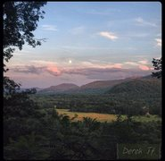 Rock Climbing Photo: Moonrise at sunset; view from descent- at the end ...