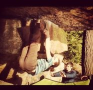 Rock Climbing Photo: Gettin buck on Overlooked at Pway - the move