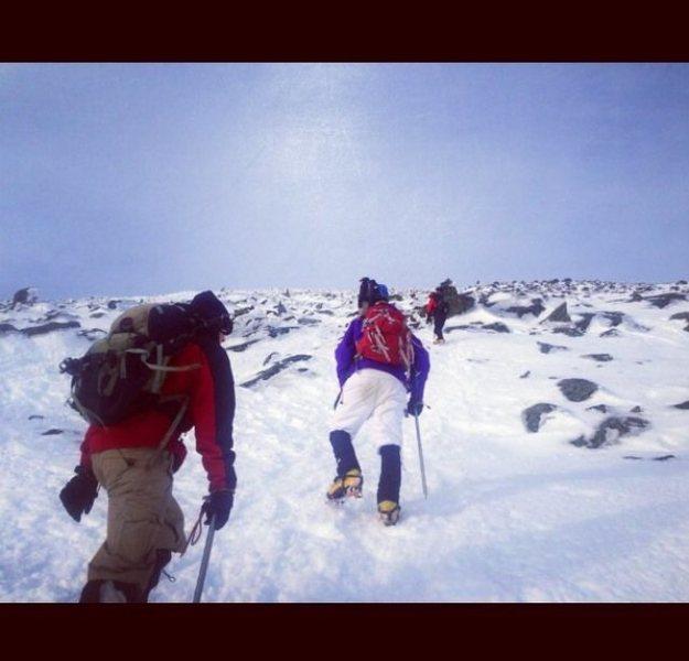 Winter ascent of Mt. Washington w/ Lincoln, Packard & friends - via Lionshead. Hittin the snowfield scree