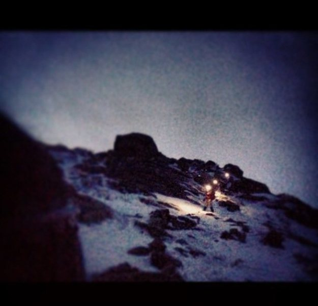 Headlamp descent - glissading our way back down, tavern on our minds at this point haha