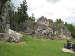 Rock Climbing Photo: For a bit of an overview: Rechter Riss (Yellow), �...