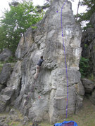 Rock Climbing Photo: Kante in blue. Jonas is in Rechter Riss.