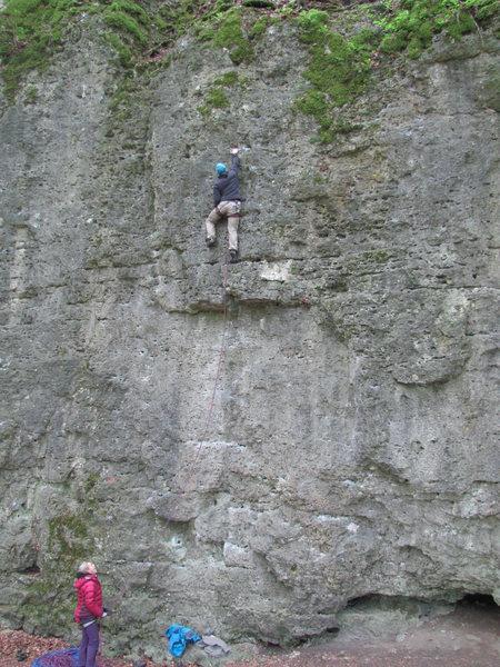 Rock Climbing Photo: Jonas above the mini roof of Ziech oder Fliech.