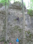 Rock Climbing Photo: Fanny slipping in the lower crux of Flop.