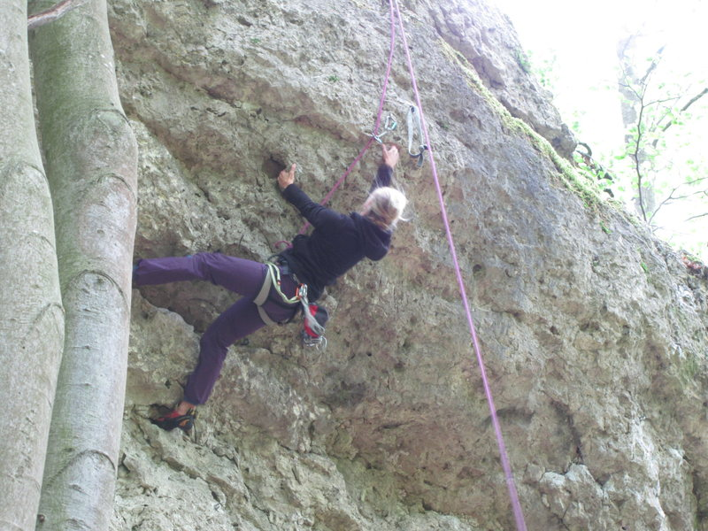 Rock Climbing Photo: Fanny in the upper section of Flop.