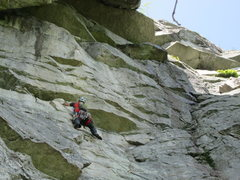 Rock Climbing Photo: The traverse on the 3rd pitch.