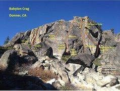 Rock Climbing Photo: Topo of the NE side of Babylon Crag.  Disclaimer -...