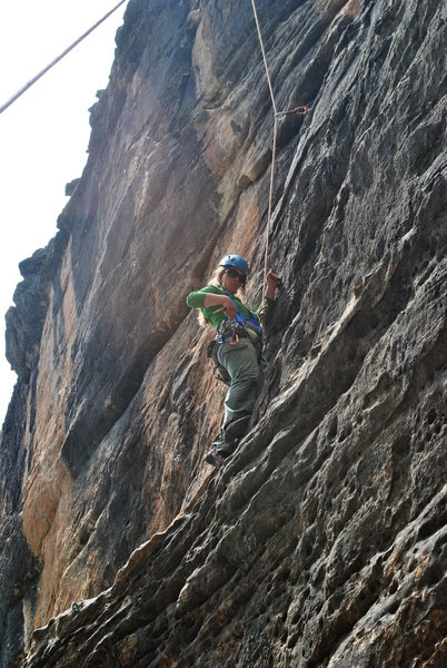 Kayla seconding Thunder Will, about midway up before the crux.