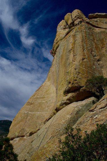 Rock Climbing Photo: High Noon follows the green streak between the two...