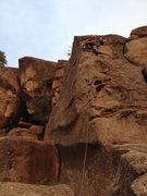 Rock Climbing Photo: Jake above the 2nd bolt. The route follows the bol...