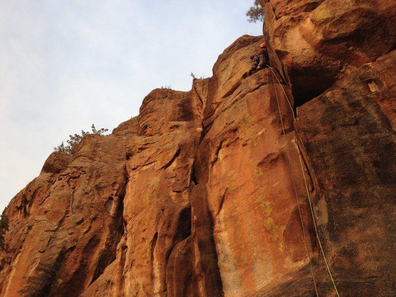 Rock Climbing Photo: Jake mock-leading Right Deception.