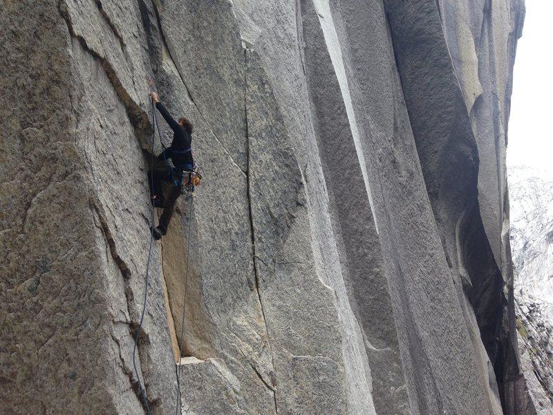 Rock Climbing Photo: Battitude starting p1 on the FFA