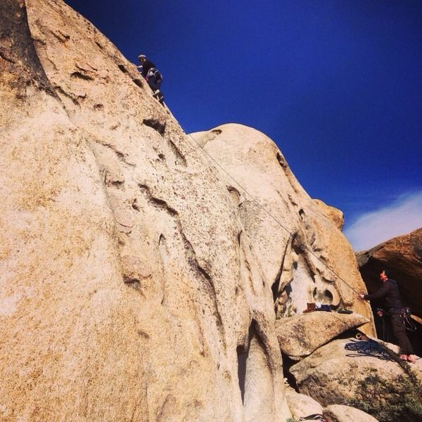 My friend led her first climb here. The small route to the right of this is what I would start them on. (Casa Diablo)
