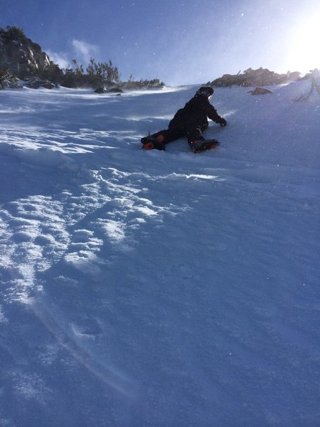 Rock Climbing Photo: My son with his crampon coming off at an inopportu...