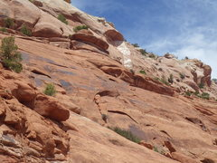 Rock Climbing Photo: white line and routes below it