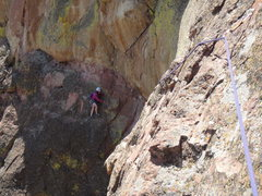 Rock Climbing Photo: Leesa traversing P3 towards Gulag Archipaelago.