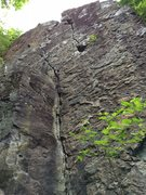 Rock Climbing Photo: Mambo Jambo from the base. The route follows the u...